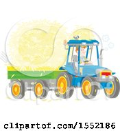 Clipart Of A Caucasian Male Farmer Hauling Hay With A Tractor And Trailer Royalty Free Vector Illustration