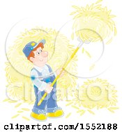 Clipart Of A White Male Hay Farmer Using A Pitchfork Royalty Free Vector Illustration