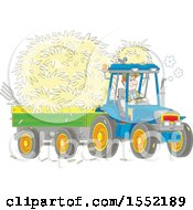 Clipart Of A White Male Farmer Hauling Hay With A Tractor And Trailer Royalty Free Vector Illustration
