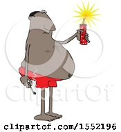 Clipart Of A Cartoon Chubby Black Man In Swim Shorts Holding A Firecracker And Match Royalty Free Vector Illustration