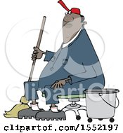 Clipart Of A Cartoon Black Male Custodian Janitor Taking A Break And Sitting In A Chair With A Mop And Bucket Royalty Free Vector Illustration