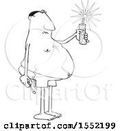 Poster, Art Print Of Cartoon Lineart Chubby Black Man In Swim Shorts Holding A Firecracker And Match