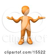 Uncertain Orange Person Shrugging Clipart Illustration Image