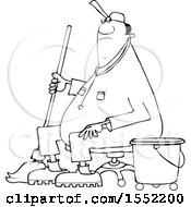 Clipart Of A Cartoon Lineart Black Male Custodian Janitor Taking A Break And Sitting In A Chair With A Mop And Bucket Royalty Free Vector Illustration
