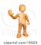 Orange Person Holding Their Hand Out And Gesturing To Stop Clipart Illustration Image by 3poD