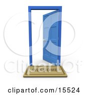 Welcome Door Mat In Front Of An Open Blue Door Clipart Illustration Image