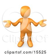 Orange Person Gesturing In Uncertainty And Asking What They Should Do To Solve A Problem Clipart Illustration Image