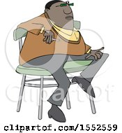 Cartoon Casual Chubby Black Man Smoking And Sitting On A Stool
