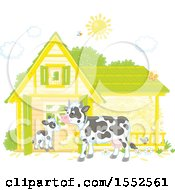 Clipart Of A Dairy Cow And Calf At A Barn Royalty Free Vector Illustration