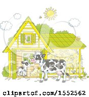 Clipart Of A Calf And Dairy Cow At A Barn Royalty Free Vector Illustration