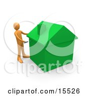 Orange Person Using A Screwdriver To Finish Off A Green Energy Efficient Home After Doing Eco Friendly Upgrades Repairs Or New Construction Clipart Illustration Image by 3poD