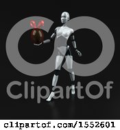 Clipart Of A 3d Feminine Robot Holding A Chocolate Egg On A Black Background Royalty Free Illustration