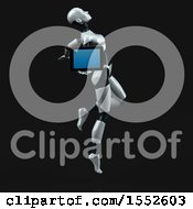 Clipart Of A 3d Feminine Robot Holding A Tablet On A Black Background Royalty Free Illustration