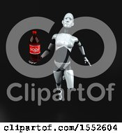 Clipart Of A 3d Feminine Robot Holding A Soda On A Black Background Royalty Free Illustration