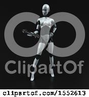 Clipart Of A 3d Feminine Robot Holding A Wrench On A Black Background Royalty Free Illustration