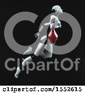 Clipart Of A 3d Feminine Robot Holding A Blood Drop On A Black Background Royalty Free Illustration