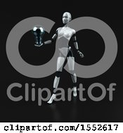 Clipart Of A 3d Feminine Robot Holding A Light Bulb On A Black Background Royalty Free Illustration