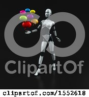 Clipart Of A 3d Feminine Robot Holding Messages On A Black Background Royalty Free Illustration