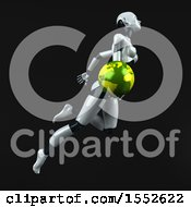 Clipart Of A 3d Feminine Robot Holding A Globe On A Black Background Royalty Free Illustration