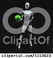 Clipart Of A 3d Feminine Robot Holding An Apple On A Black Background Royalty Free Illustration