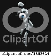 Clipart Of A 3d Feminine Robot Holding An Eye On A Black Background Royalty Free Illustration