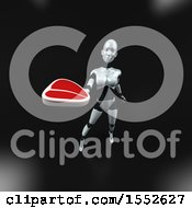 Clipart Of A 3d Feminine Robot Holding A Steak On A Black Background Royalty Free Illustration