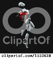 Clipart Of A 3d Feminine Robot Holding An Alarm Clock On A Black Background Royalty Free Illustration