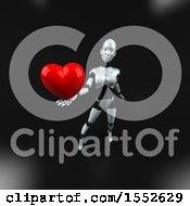 Poster, Art Print Of 3d Feminine Robot Holding A Heart On A Black Background
