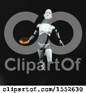 Clipart Of A 3d Feminine Robot Holding A Donut On A Black Background Royalty Free Illustration