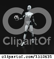 Clipart Of A 3d Feminine Robot Holding A Soccer Ball On A Black Background Royalty Free Illustration