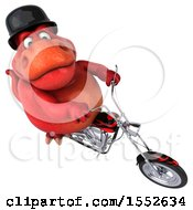3d Red T Rex Dinosaur Biker Riding A Chopper Motorcycle On A White Background