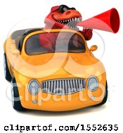 3d Red T Rex Dinosaur Driving A Convertible On A White Background
