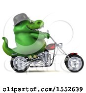 3d Green T Rex Dinosaur Riding A Chopper Motorcycle On A White Background