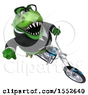 3d Green Business T Rex Dinosaur Riding A Chopper Motorcycle On A White Background
