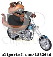 3d Brown Business T Rex Dinosaur Riding A Chopper Motorcycle On A White Background