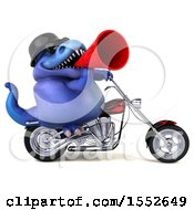 3d Blue T Rex Dinosaur Riding A Chopper Motorcycle On A White Background