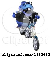 3d Blue Business T Rex Dinosaur Riding A Chopper Motorcycle On A White Background