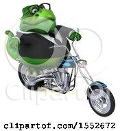 Poster, Art Print Of 3d Green Business T Rex Dinosaur Biker Riding A Chopper Motorcycle On A White Background