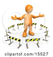 Orange Person Stuck In The Middle Of A Circle Of Caution Signs