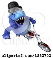 Clipart Of A 3d Blue T Rex Dinosaur Biker Riding A Chopper Motorcycle On A White Background Royalty Free Illustration