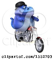 3d Blue T Rex Dinosaur Biker Riding A Chopper Motorcycle On A White Background