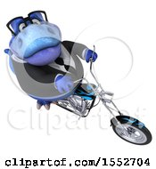 3d Blue Business T Rex Dinosaur Biker Riding A Chopper Motorcycle On A White Background