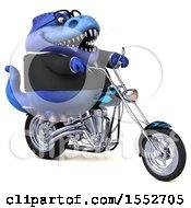 Poster, Art Print Of 3d Blue Business T Rex Dinosaur Biker Riding A Chopper Motorcycle On A White Background