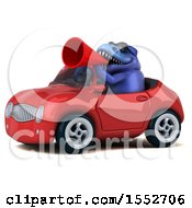 3d Blue T Rex Dinosaur Driving A Convertible On A White Background