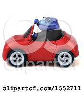 3d Blue Business T Rex Dinosaur Driving A Convertible On A White Background