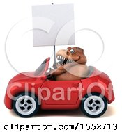 3d Brown T Rex Dinosaur Driving A Convertible On A White Background