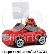 3d Red Business T Rex Dinosaur Driving A Convertible On A White Background