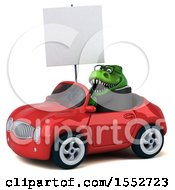 3d Green Business T Rex Dinosaur Driving A Convertible On A White Background