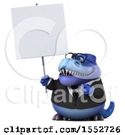 3d Blue Business T Rex Dinosaur Holding A Sign On A White Background