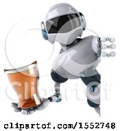 Poster, Art Print Of 3d Blue And White Robot Holding A Beer On A White Background